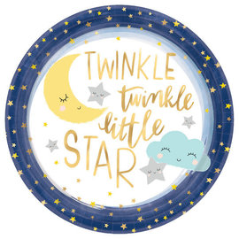 "Twinkle Twinkle Little Star 10 1/2"" Round Metallic Plates 8Ct"
