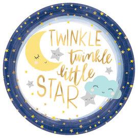 "Twinkle Twinkle Little Star 10 1/2"" Round Metallic Plates 8Ct"