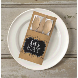 Let's Eat Kraft Paper Cutlery Holders 16ct