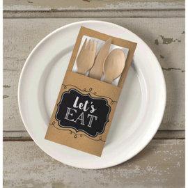Let's Eat Kraft Paper Cutlery Holders 16ct