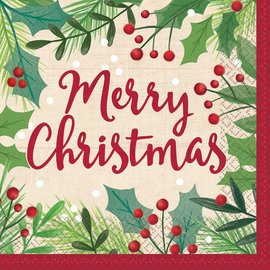 Merry Holly Day Luncheon Napkins, 16ct