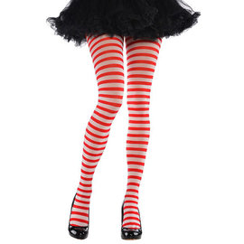 Red/White Striped Tights - Adult Standard