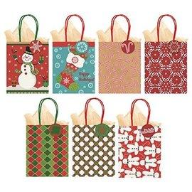 Small Vertical Christmas Kraft Bags- Multi 7ct