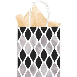 Black & White Wave Medium Paper Kraft Bag