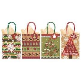 Christmas Kraft Medium Gift Bags 4 Pack
