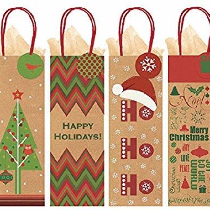 Christmas Kraft Bottle Bags- Multi Pack