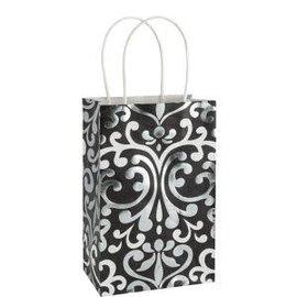 Kraft Bag-Black/White/Metallic Damask Small Bag