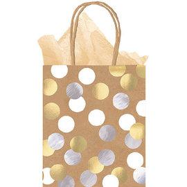 Kraft Paper Bag Medium Metallic Circles