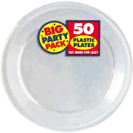 "Clear Big Party Pack Plastic Plates, 10 1/4"" 50ct"