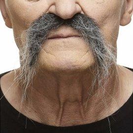 Fu Manchu Mustache- Grey