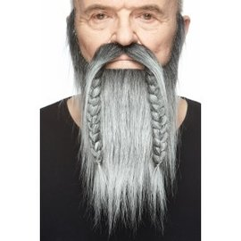 Viking Mustache with Beard- Grey