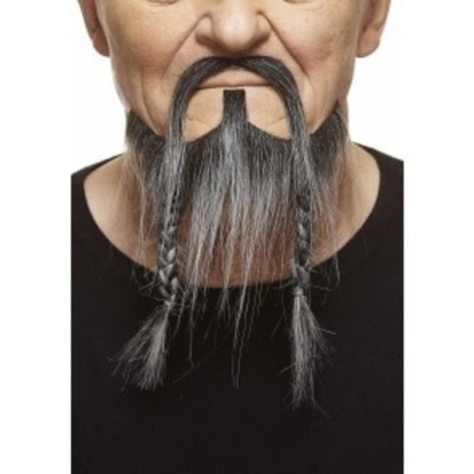 Braided Pirate Mustache with Beard- Grey