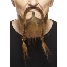 Braided Pirate Mustache with Beard- Brown