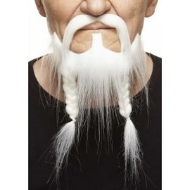Braided Pirate Mustache with Beard- White