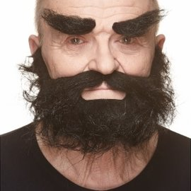 Trapper Mustache with Beard and Eyebrows- Black