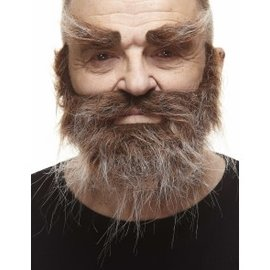 Trapper Mustache with Beard and Eyebrows- Brown/Grey