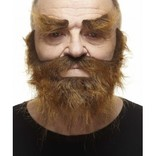Trapper Mustache with Beard and Eyebrows- Brown