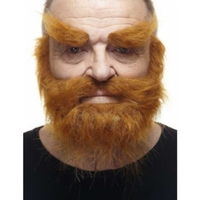 Trapper Mustache with Beard and Eyebrows- Red