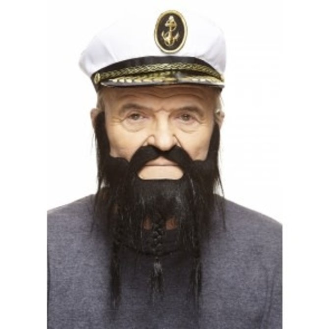 Braided Captain Mustache with Beard- Black