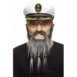 Braided Captain Mustache with Beard- Grey