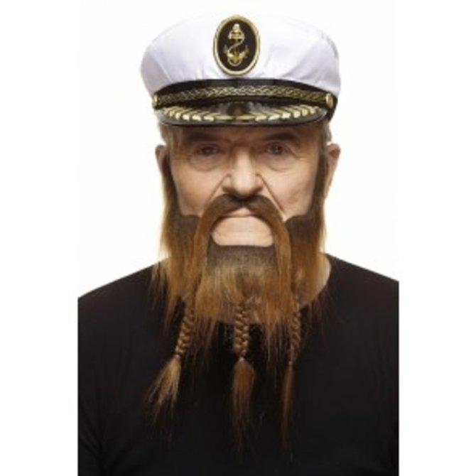 Braided Captain Mustache with Beard- Brown