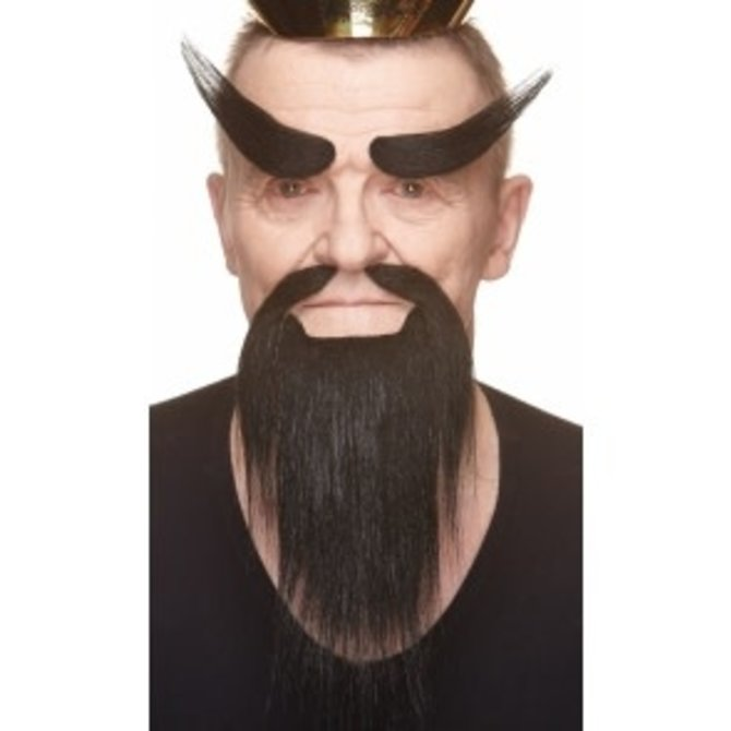 Shaolin Mustache with Beard and Eyebrows- Black