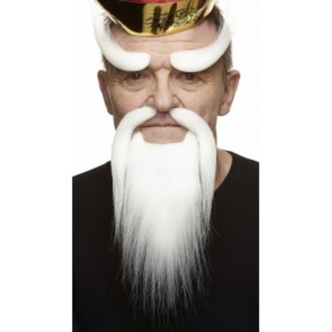 Shaolin Mustache with Beard and Eyebrows- White