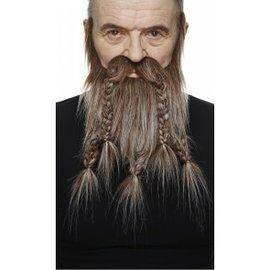 Viking Mustache with Beard- Brown/Grey