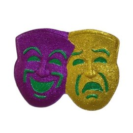 Comedy & Tragedy Glitter Mask Decoration