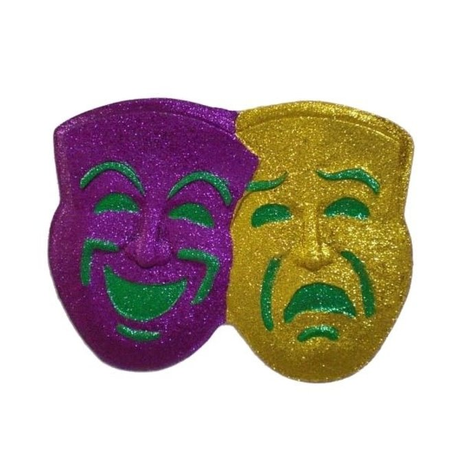 Comedy & Tragedy Glitter Mask Decoration