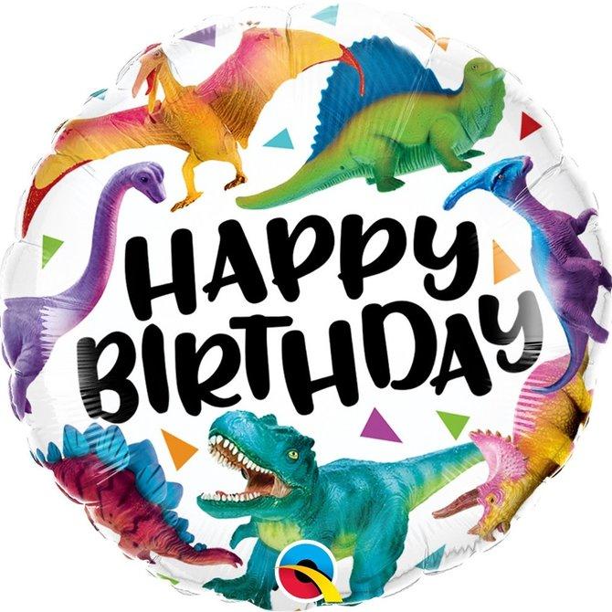 "Birthday Colorful Dinosaurs Foil Balloon, 18"""
