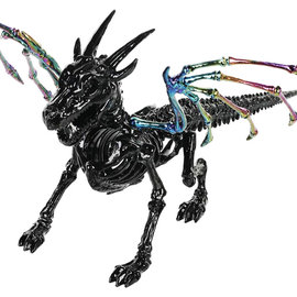 Skeleton Dragon Glossy Black and Oil Slick, 7.75""