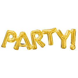 "Balloon Air-Filled Phrase ""Party"" - Gold"