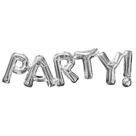 "Balloon Air-Filled Phrase ""Party"" - Silver"