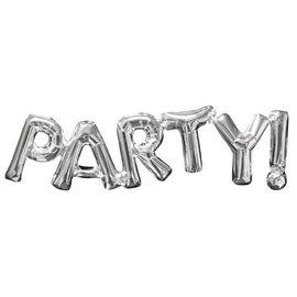 "Balloon Air-Filled Phrase ""Party"" - Silver"