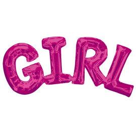 "Balloon Air-Filled Phrase "" Girl"" Pink"