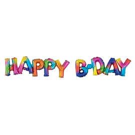 "Balloon Block Phrase ""Happy Bday"" - Rainbow Splash"