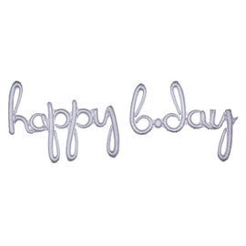 "Balloon Script Phrase ""Happy Bday"" - Holographic"