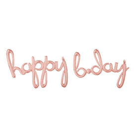 "Balloon Script Phrase ""Happy Bday"" - Rose Gold"