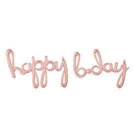 "Balloon Script Phrase ""Happy Bday"" - Rose Gold"