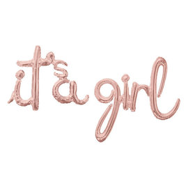 "Foil Balloon Script Phrase ""It's A Girl"" - Rose Gold"