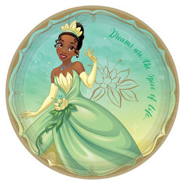 "©Disney Princess Round Plates, 9"" - Tiana -8ct"