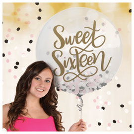 Blush Sixteen Latex Balloon w/ Confetti