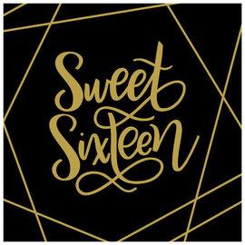 Elegant Sixteen Luncheon Napkins - Hot-Stamped