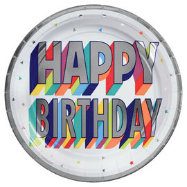 "Here's To Your Birthday Round Metallic Plates, 7"" -8ct"