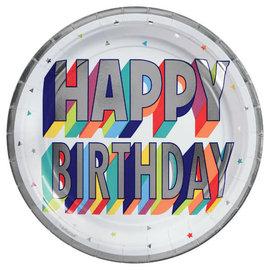 "Here's To Your Birthday Round Metallic Plates, 7"" -8ct"