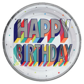 "Here's To Your Birthday Metallic Round Plates, 9"" -8ct"