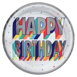 "Here's To Your Birthday Metallic Round Plates, 9"" -8ct"