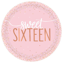 "Blush Sixteen Foil Round Plates, 7"" -8ct"