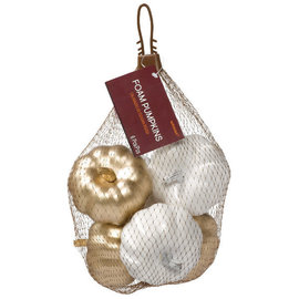 "Bag Of Mini Pumpkins - Metallic Mix -6ct -3"" x 2 1/2"" each"